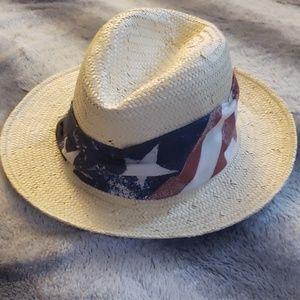 July 4th Patriotic Straw Hat American Flag wrap